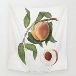Peach (Persica sativa) from Pomona Italiana (1817 - 1839) by Giorgio Gallesio (1772-1839) Wall Tapestry