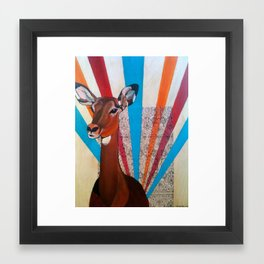 Deer on Headlights Framed Art Print