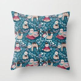 Hygge sloth // turquoise and red Throw Pillow