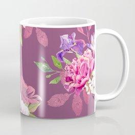 Colorful flowers a purple marsala background Coffee Mug