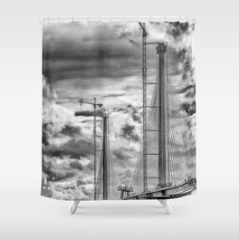 Queensferry Crossing Under Construcion in the Clouds Shower Curtain