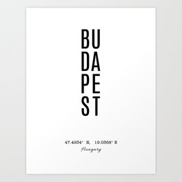 Budapest Coordinates, City Name Art Print