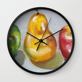Fruits, apples and pear Wall Clock
