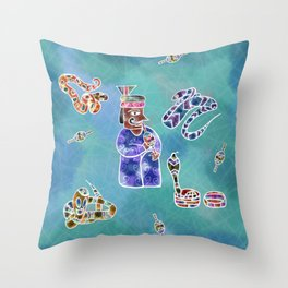 Snakes and the snake Charmer Throw Pillow