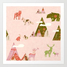 Canadian Wildlife Pink Art Print