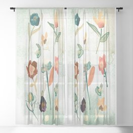 Vintage Watercolor Florals Mint Background Sheer Curtain
