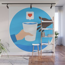 An arm give a cup of water to a child with love. Wall Mural