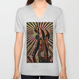6058-KMA Abstract Nude Woman Bending Over in Red Black Unisex V-Neck