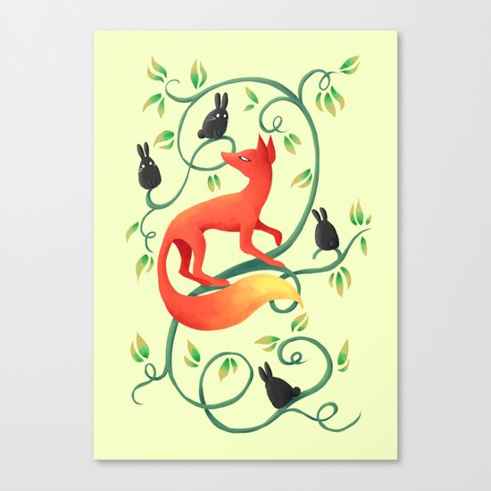Bunnies and a Fox Canvas Print