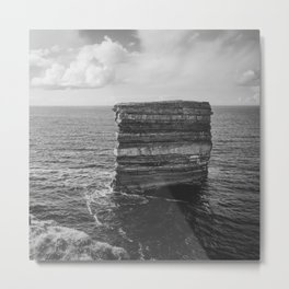Dun Briste II Black and White Metal Print