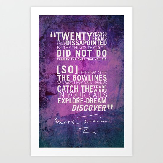 Dream, Explore, Discover. Art Print