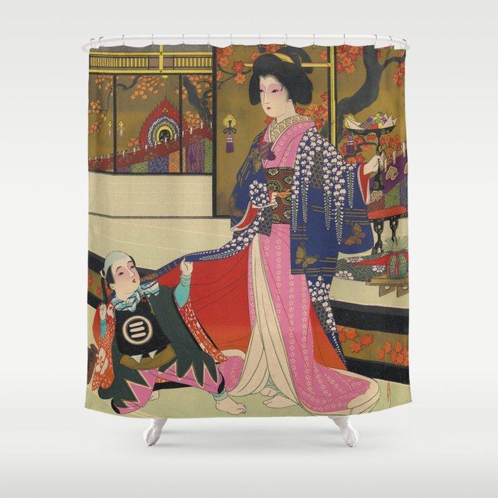 Vintage Japanese Geisha Shower Curtain