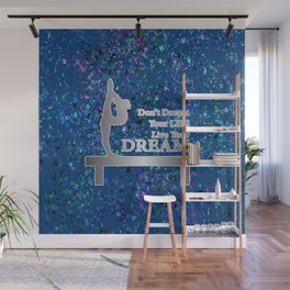 Gymnastics Live Your Dream-Silver and Navy Digital Design Wall Mural