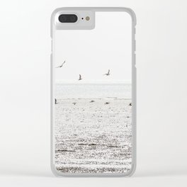 Seagulls fly over a beach in Normandy Clear iPhone Case