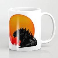 godzilla Mugs featuring Godzilla by Quadric