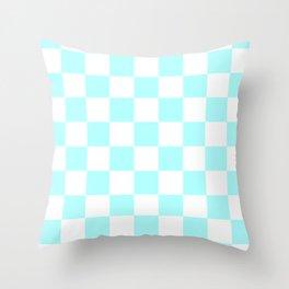 Checkered - White and Celeste Cyan Throw Pillow