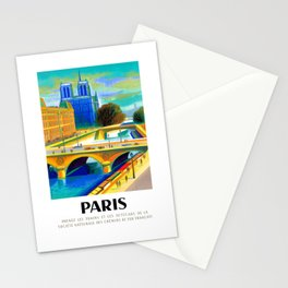 1957 Paris Notre Dame Cathedral French Travel Poster Stationery Cards