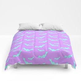 Blue Bat Pattern on Purple Comforters