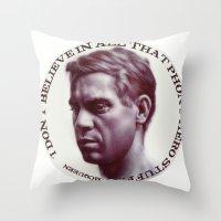 steve mcqueen Throw Pillows featuring Steve McQueen by RSassi