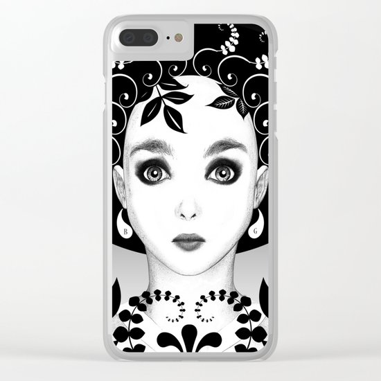 Black and white floral portrait Clear iPhone Case