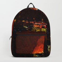 Classical Masterpiece 'Alarm Firelight - Boston' by Frederick Childe Hassam Backpack