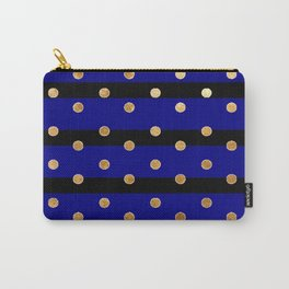 Black and blue stripes polka dot gold pattern Carry-All Pouch