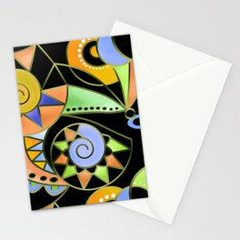 Abstract black green , colorful ornament . Stationery Cards