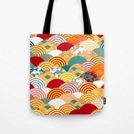 Nature background with japanese sakura flower, orange red pink Cherry, wave circle pattern Tote Bag