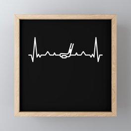 Funny Ice Hockey Heart beat Puck Gift Framed Mini Art Print