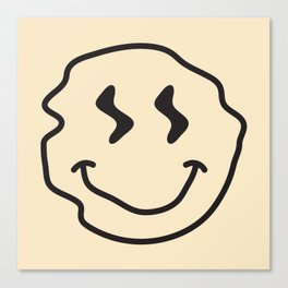 Wonky Smiley Face - Black and Cream Canvas Print