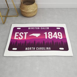 Winston-Salem North Carolina Mountain Retro License Plate  Rug