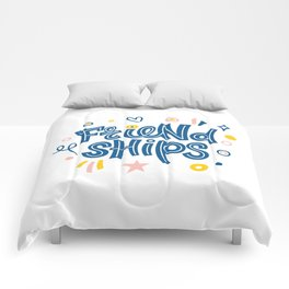 Friendships. Bright colored lettering. Typography. Comforters