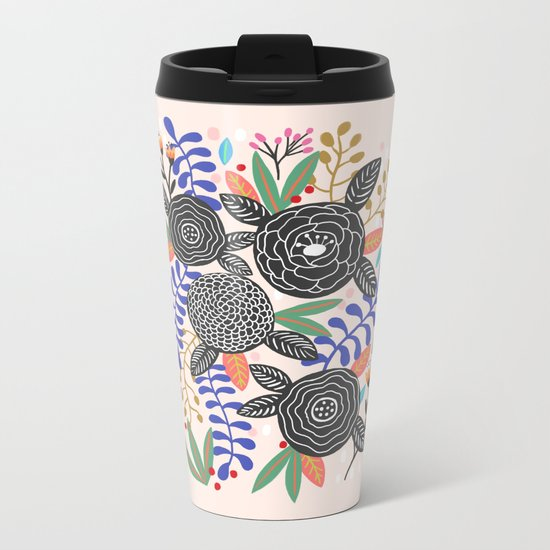 Black Botanical Metal Travel Mug