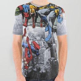 Superhero Lunch Atop A Skyscraper All Over Graphic Tee