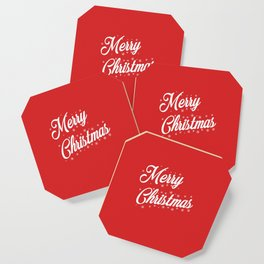 Merry Christmas with Snow Flakes on Red Background Coaster