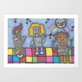 Disco Bots Art Print