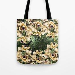 Hot Summer Tropical Orchid Jungle Print Tote Bag
