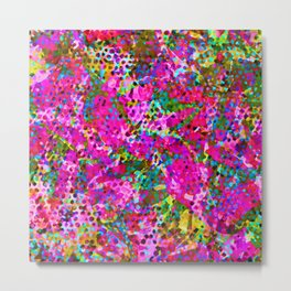 Floral Abstract Stained Glass G548 Metal Print