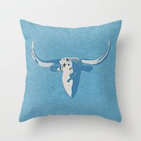 cow Throw Pillows featuring Cow by Saundra Myles