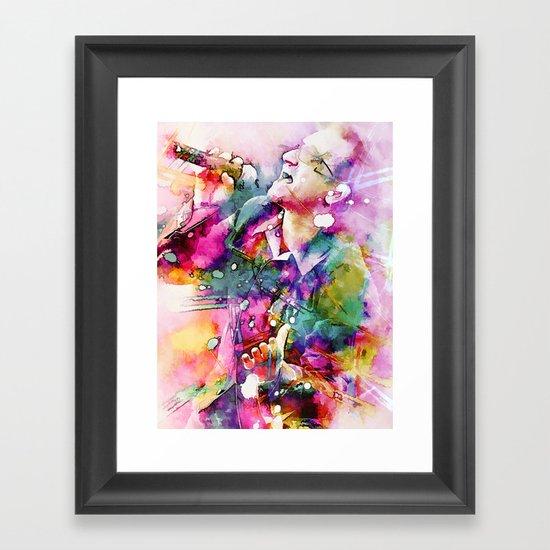 Bono singing Framed Art Print
