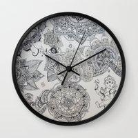 henna Wall Clocks featuring Henna Ganesh by Madeline Margaret