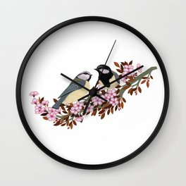 Chickadee Couple on Cherry Branch Wall Clock