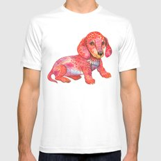 Mini Dachshund  White Mens Fitted Tee MEDIUM