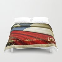 sticker Duvet Covers featuring Chile grunge sticker flag by Lulla