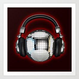 Headphone disco ball Art Print