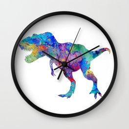 Dinosaur T-Rex Tyrannosaurus Rex Art Animals Nursery Decor Kids Room Watercolor Print Blue Purple Di Wall Clock