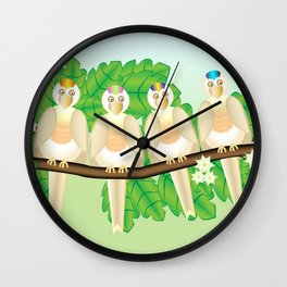 Punk chubby birds Wall Clock