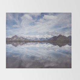 Mountain Lake Reflection - Landscape and Nature Photography Throw Blanket