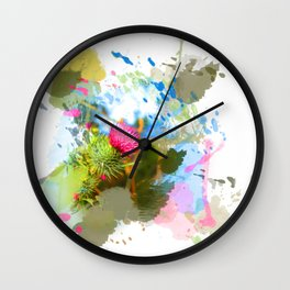 Vibrant painted thistle on white Wall Clock