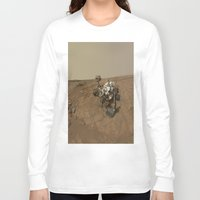 nasa Long Sleeve T-shirts featuring NASA Curiosity Rover's Self Portrait at 'John Klein' Drilling Site in HD by Planet Prints